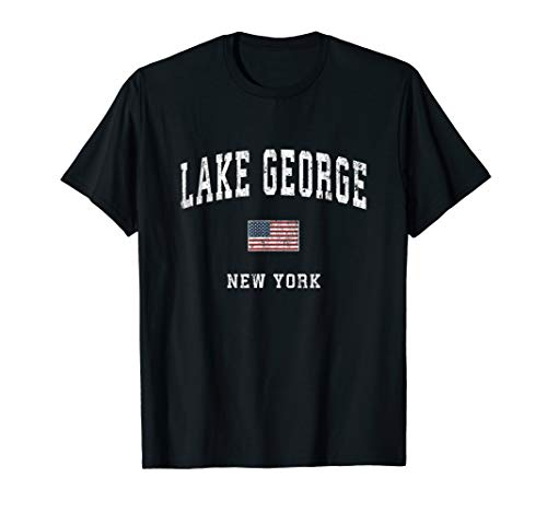 Lake George New York NY Vintage American Flag Sports Design T-Shirt (Star Lake Ny)