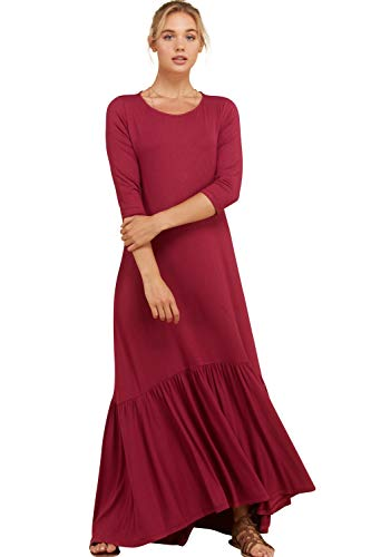 Annabelle Women's Shirred Gathering at Hem Ruffle Detail Maxi Dress Berry Medium D5293K