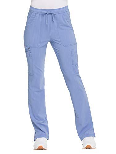 Dickies Advance Solid Tonal Twist DK200 Mid Rise Boot Cut Drawstring Pant Ciel Blue XXS - Dickies Womens Skirt