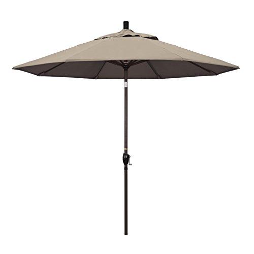 California Umbrella 9' Round Aluminum Market Umbrella, Crank Lift, Push Button Tilt, Bronze Pole, Sunbrella Taupe
