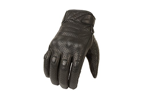 Milwaukee Leather Men's Short Perforated Gel Pad Racing Gloves (Black, Large)
