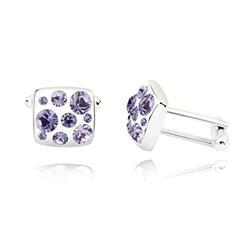 Epinki Womens Mens Gold Plated Crystal Square Cubic Zirconia Pale Purple Business Wedding Cufflinks