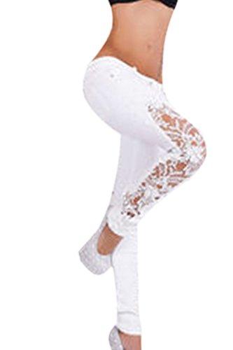 Fanvans Taille haute rtro dentelle crochet creux Jeans femmes White
