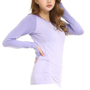LWJ 1982 Women's Sports Skin Gym Yoga Run Seamless Long Sleeve Function Fitness T-Shirts (Large, -