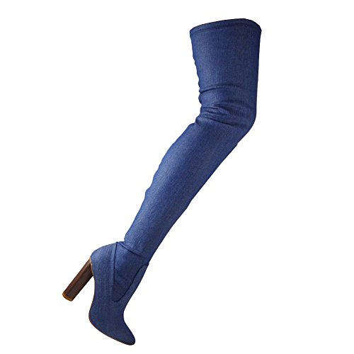 Womens Ladies Denim Thigh High Boots Over The Knee Brown Block Heeled Shoes Size 3-8 Denim