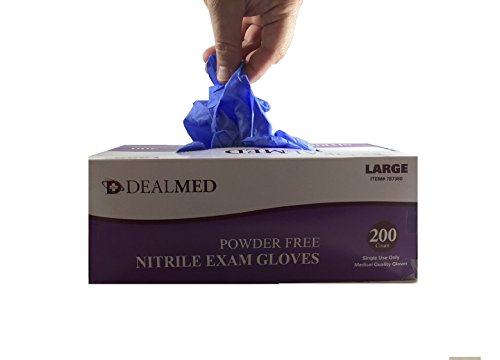 Disposable Nitrile Exam Powder Free Gloves, Case of 10 Boxes, 200 Count Each, Size Small by Dealmed (Image #3)'
