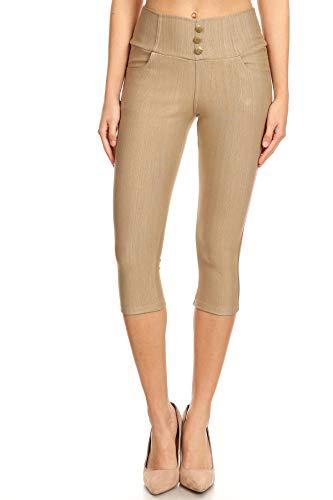 Women's High Waist Stretch Skinny Denim Capri Jeggings with Pockets (Large, Capri-Khaki)