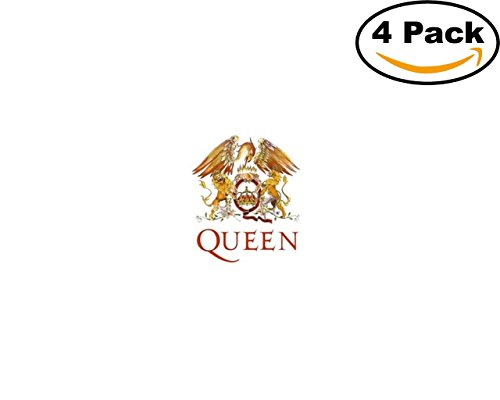 Band Queen Logo 4 Stickers 4X4 Inches Car Bumper Window Sticker Decal