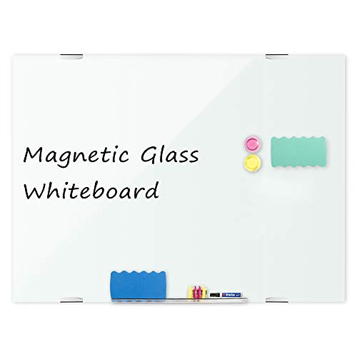 Magnetic Glass Whiteboard 48 x 32 Inch, Wall Mount Dry Erase White Boards with 6 High Powered Magnets, 2 Erasers