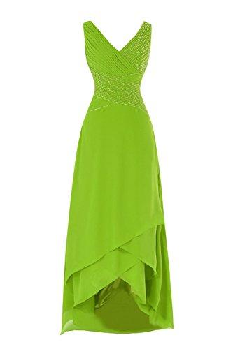 Bess Bridal Women's Beaded V Neck Tea Length Mother of The Bride Dresses US12 Lime Green