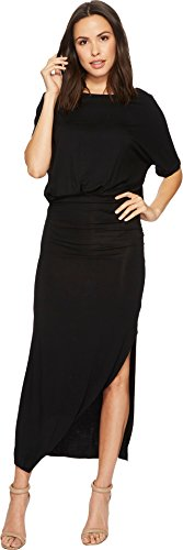 American Rose Women's Daniella Short Sleeve Maxi Dress Black Large