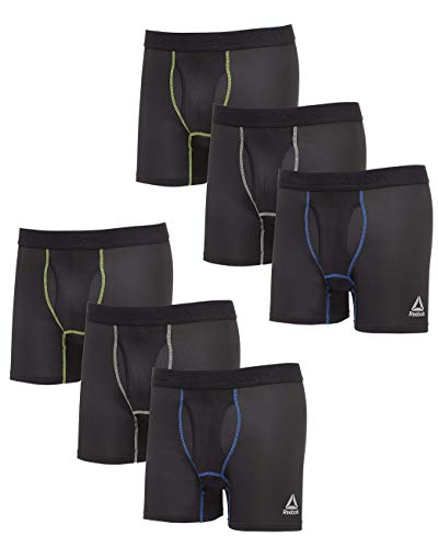 Reebok Men's 6 Pack Performance Boxer Briefs with Functional Fly
