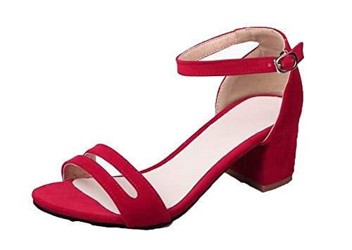 Boucle TSFLH007770 Unie Sandales Couleur AalarDom à Talon Femme Correct Rouge q8w8xCSY