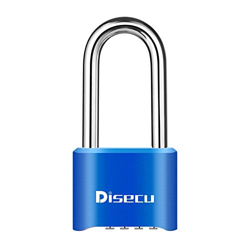 Disecu Heavy Duty 4 Digit Long Shackle Combination Lock and Outdoor Waterproof Padlock for Gym Locker, Gate, Cabinet, Toolbox (Blue)