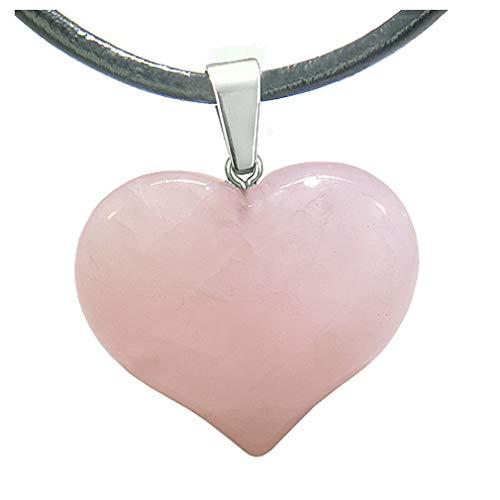 BestAmulets Amulet Large Puffy Heart Rose Quartz Gemstone Healing Powers Leather Pendant Necklace