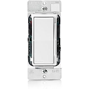 Leviton DS710-10Z Decora Rocker Slide Mark 7 Dimmer for 0-10VDC Fluorescent Loads or LED Power Supply, White/Ivory/Light Almond