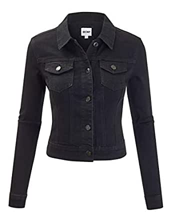 FASHION BOOMY Women's Button Down Long Sleeve Classic Outerwear Denim Jacket (Small, Black_Denim)