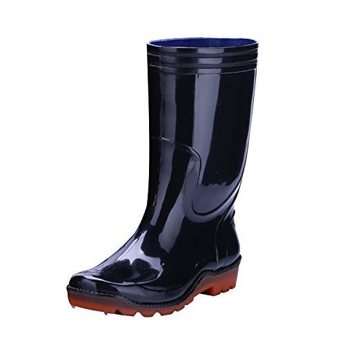 50456f32c51 Frestepvie Men s Black PVC Rain Boots Wellies Garden Boots Rubber Sole  Winter Snow Cold Weather Wellington Muck Boots  Amazon.co.uk  Shoes   Bags