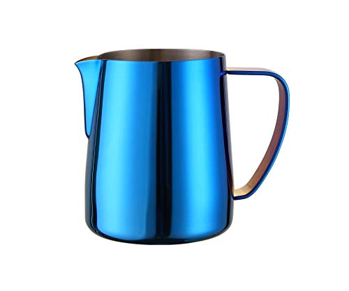 - Joytata Milk Frothing Pitcher 20oz Stainless Steel Cup Perfect for Latte Art,Espresso Maker,Cappuccino Maker-18/8 Stainless Steel Milk Frother Pitcher Steaming Pitcher Cobalt Blue Color
