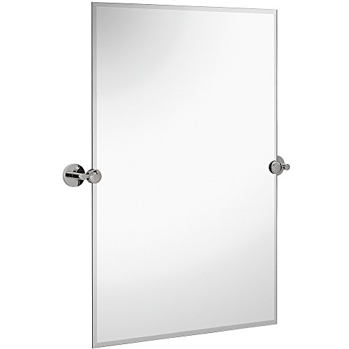 Hamilton Hills Large Pivot Rectangle Mirror with Polished Chrome Wall Anchors | - X Oval Beaded 22 32 Mirrors Bathroom