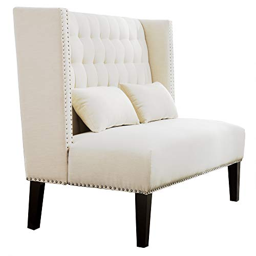 Bella E. 4765421 Winged Tufted Settee Bench with Pillows, Ivory by Bella E. (Image #3)
