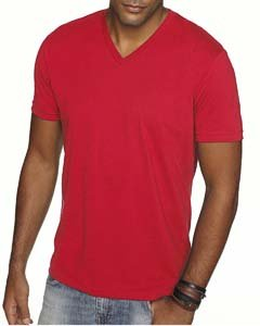 440 Mens Premium Fitted Sueded V-Neck Tee - Red, Large (Banana Fitted Jersey T-shirt)