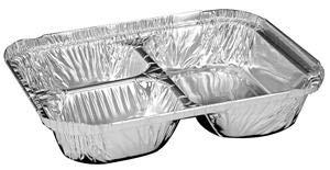Handi Foil Aluminum Oblong Pan 3 Compartment Tray with Foil Board Lid - 250 per case.