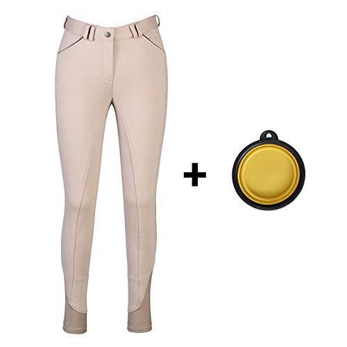 HR Farm Ladies Middle Rise Full Seat Silicone Knit Breeches Women Riding Pants with 1 Dog Bowl (Beige, 28) ()