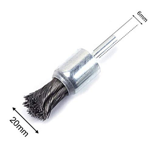 Baguio-Store - 1pc 6x20mm Wire Knot End Brush Stainless Steel With Shank For Die Grinder Or Drill