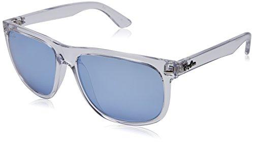 Ray-Ban RB4147 Boyfriend Square Sunglasses, Transparent/Violet Silver Flash, 56 ()