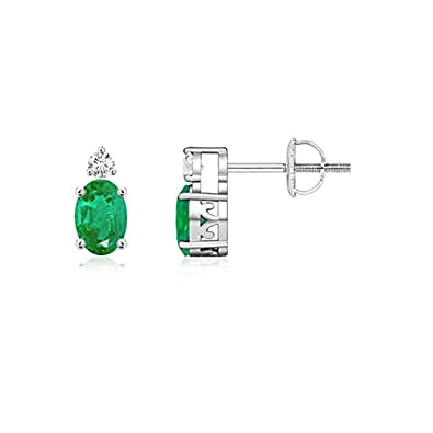 Angara Basket-Set Natural Emerald Stud Earrings with Diamond in White Gold BCTZgV