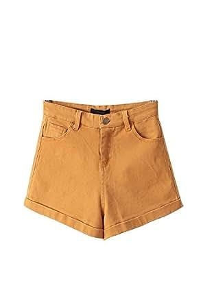 Unomatch Women's Casual Denim Style Wide Leg Short Yellow (SMALL, YELLOW)