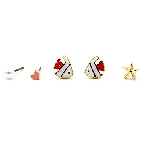 Halloween Costumes For Asian Girl And White Guy (GBJewelry Set of 5pcs Shine Blinking Fish Stud Earrings Set for Girl (red))