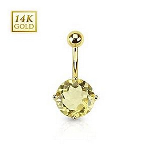 Piercing nombril pierre de quartz ronde en Or 14 carats