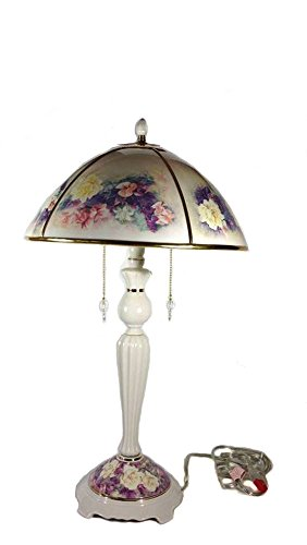 Retired Lena Liu Butterfly Garden Floral Art Decorative Table Lamp ()