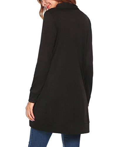2bfc612592 Meaneor Damen Elegant Strickjacke Verschlussloser Cardigan Pocket  Strickmantel Long Jersey Jacke für Herbst und Winter Schwarz ...