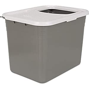 Petmate Top Entry Litter Pan Cat Litter Box Brushed Nickel/Pearl White 54