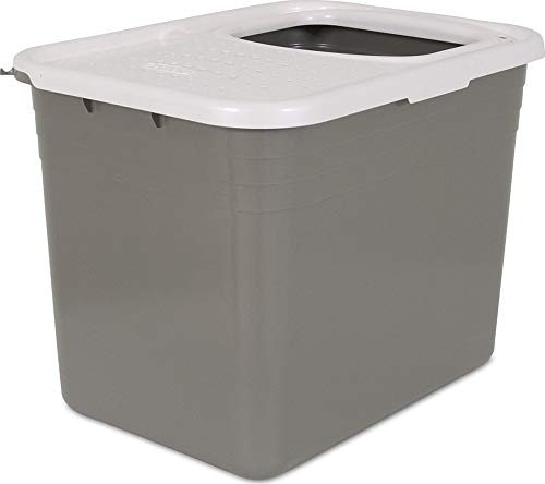 Petmate Top Entry Litter Pan Cat Litter Box Brushed Nickel/Pearl White ()