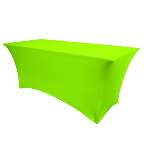 Ultimate Textile (10 Pack) 6 ft. Fitted Spandex Table Cover - for 24 x 72-Inch Banquet and Folding Rectangular Tables, Neon Green by Ultimate Textile