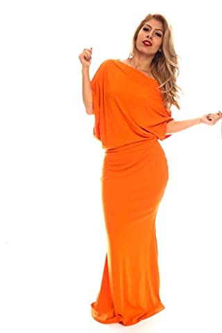 Young Aloud SHORT SLEEVES OFF SHOULDER LOOK STRETCHY MAXI DRESS XXL orange