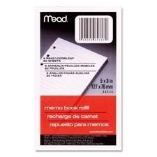 "Mead Memo Book Refill, 6 Ring, 3 3/4"" x 6 3/4"", Pack of 80 Sheets"
