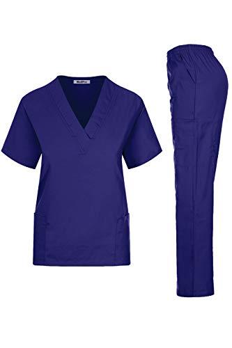 MedPro Women's Medical Scrub Set Mock Wrap and Cargo Purple XS ()