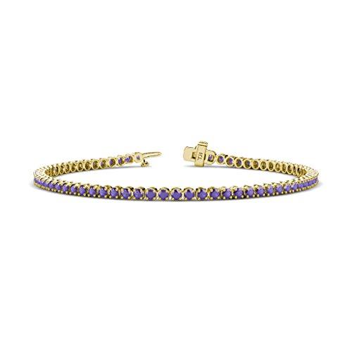 - TriJewels Iolite 2.3mm Tennis Bracelet 1.47 cttw in 14K Yellow Gold