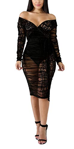 Women Lace Dress Mesh See Through Slit Off Shoulder Deep V Neck Long Sleeve Bodycon Club Party Midi Dress Plus Size Black