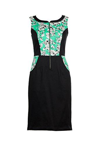 eShakti Women's Print block cotton sateen dress 1X-18W Tall White/sea green/black