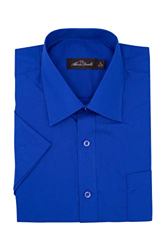 - Alberto Danelli Men's Short Sleeve Dress Shirt, Royal, 2X 18-18.5