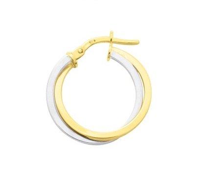 VARYA - Boucles d'Oreilles - Créoles - Or Bicolore- 9 carats - Diamètre 20 mm - www.diamants-perles.com