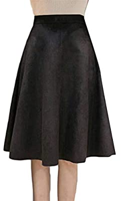 Cromoncent Womens Solid High Waist Suede Swing Pleated Aline Skirts