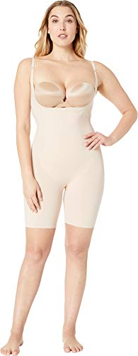 SPANX Women's Plus Size Thinstincts Open-Bust Midthigh Bodysuit Soft Nude 2X (Best Spanx For Plus Size)