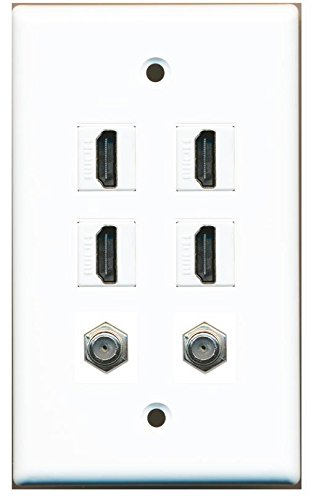 RiteAV - 4 HDMI and 2 - Coax Cable TV F Port Wall Plate ()